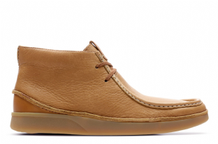 Clarks Mens Oakland Mid Tan Leather Boots
